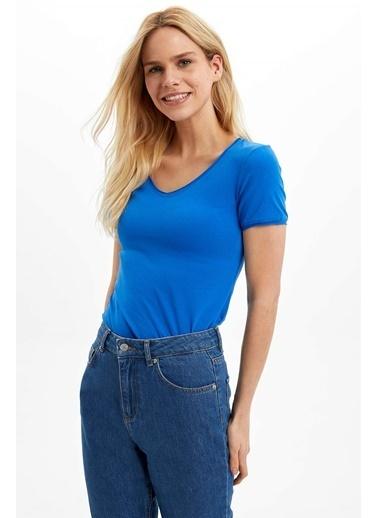 DeFacto V Yaka Basic T-Shirt Mavi